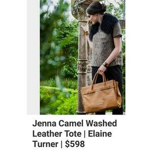 Elaine Turner Jenna Camel Tote Satchel Purse Bag